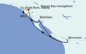 Itinéraire de la croisière Alaska 8 jours à bord du Queen Elizabeth
