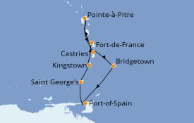 Itinéraire de la croisière Caraïbes de l'Est 8 jours à bord du MSC Poesia