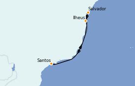 Itinéraire de la croisière Amérique du Sud 8 jours à bord du Costa Toscana