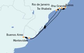 Itinéraire de la croisière Amérique du Sud 10 jours à bord du MSC Orchestra