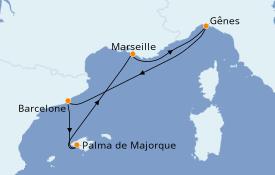 Itinerario de crucero Mediterráneo 6 días a bordo del MSC Grandiosa