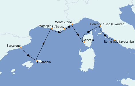 Itinéraire de la croisière Méditerranée 7 jours à bord du Sirena