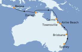 Itinéraire de la croisière Australie 2020 14 jours à bord du Silver Muse