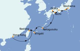 Itinéraire de la croisière Transatlantiques et Grands Voyages 2021 12 jours à bord du Norwegian Sun