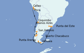 Itinerario de crucero Norteamérica 21 días a bordo del MS Marina