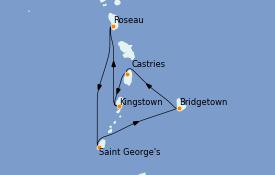 Itinéraire de la croisière Caraïbes de l'Est 8 jours à bord du Rhapsody of the Seas