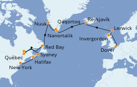 Itinéraire de la croisière Tour du Monde 2021 23 jours à bord du Sea Princess