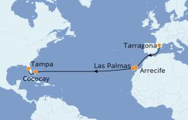 Itinéraire de la croisière Transatlantiques et Grands Voyages 2020 15 jours à bord du Rhapsody of the Seas