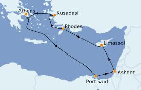Itinéraire de la croisière Grèce & Adriatique 9 jours à bord du Celestyal Crystal