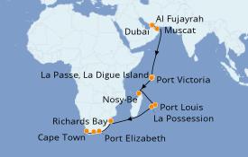 Itinéraire de la croisière Océan Indien 20 jours à bord du Norwegian Jade