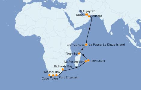 Itinéraire de la croisière Océan Indien 19 jours à bord du Norwegian Jade