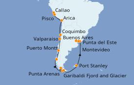 Itinéraire de la croisière Amérique du Sud 22 jours à bord du Silver Dawn
