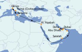 Itinerario de crucero Dubái 20 días a bordo del Costa Firenze