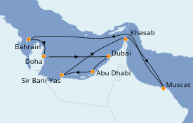 Itinéraire de la croisière Dubaï - Emirats 12 jours à bord du MSC Lirica