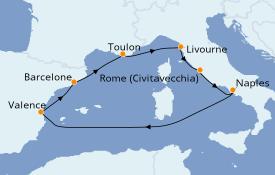 Itinéraire de la croisière Méditerranée 8 jours à bord du Jewel of the Seas