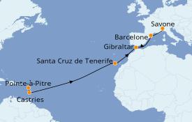 Itinéraire de la croisière Transatlantiques et Grands Voyages 2022 14 jours à bord du Costa Fortuna