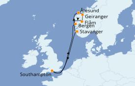 Itinéraire de la croisière Fjords & Norvège 9 jours à bord du Celebrity Silhouette