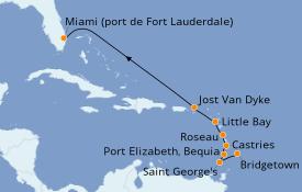Itinéraire de la croisière Caraïbes de l'Est 10 jours à bord du Silver Whisper