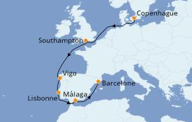 Itinéraire de la croisière Méditerranée 9 jours à bord du MSC Splendida