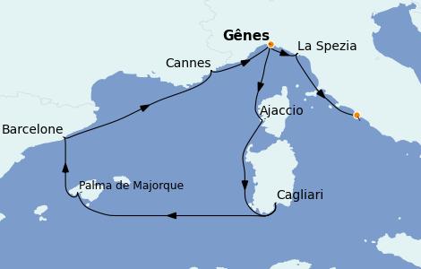 Itinéraire de la croisière Méditerranée 9 jours à bord du MSC Meraviglia