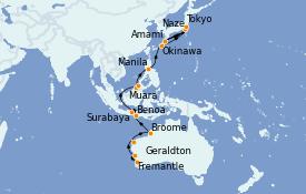Itinéraire de la croisière Australie 2022 23 jours à bord du MS Insignia
