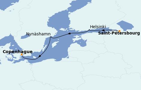 Itinéraire de la croisière Mer Baltique 4 jours à bord du Regal Princess