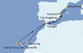 Itinéraire de la croisière Méditerranée 11 jours à bord du Seven Seas Splendor
