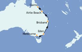 Itinéraire de la croisière Australie 2022 10 jours à bord du Silver Shadow