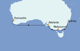 Itinéraire de la croisière Australie 2022 9 jours à bord du Queen Elizabeth