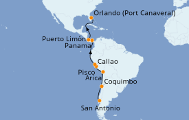 Itinéraire de la croisière Transatlantiques et Grands Voyages 2020 16 jours à bord du Norwegian Star