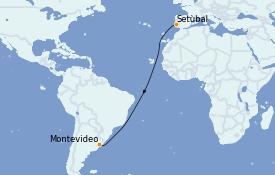 Itinéraire de la croisière Amérique du Sud 18 jours à bord du Le Lyrial
