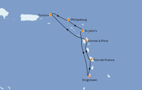 Itinéraire de la croisière Caraïbes de l'Est 7 jours à bord du Costa Fascinosa