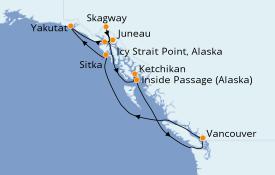 Itinéraire de la croisière Alaska 10 jours à bord du Radiance of the Seas