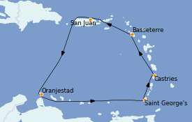 Itinerario de crucero Caribe del Este 8 días a bordo del Norwegian Epic