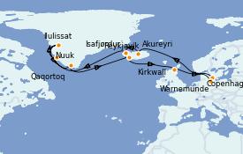Itinéraire de la croisière Exploration polaire 22 jours à bord du MSC Musica