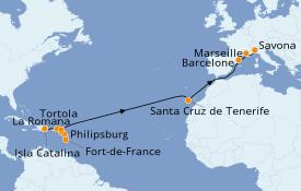 Itinéraire de la croisière Transatlantiques et Grands Voyages 2021 20 jours à bord du Costa Magica