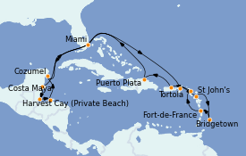 Itinéraire de la croisière Caraïbes de l'Est 19 jours à bord du MS Insignia