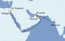 Itinéraire de la croisière Mer Rouge 15 jours à bord du Silver Shadow