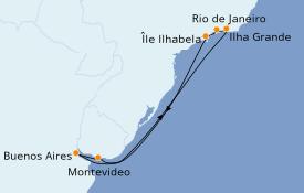 Itinéraire de la croisière Amérique du Sud 9 jours à bord du Costa Pacifica