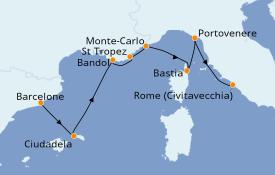Itinéraire de la croisière Méditerranée 8 jours à bord du Seabourn Encore