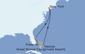 Itinéraire de la croisière Transatlantiques et Grands Voyages 2022 9 jours à bord du Norwegian Getaway