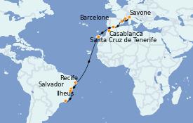 Itinerario de crucero Mediterráneo 18 días a bordo del Costa Fascinosa