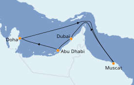 Itinéraire de la croisière Dubaï - Emirats 8 jours à bord du Costa Smeralda
