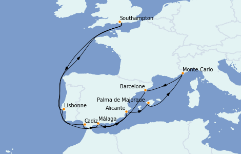 Itinéraire de la croisière Méditerranée 14 jours à bord du MSC Magnifica