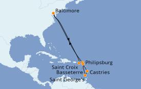 Itinéraire de la croisière Caraïbes de l'Est 13 jours à bord du Enchantment of the Seas