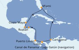 Itinéraire de la croisière Caraïbes de l'Ouest 12 jours à bord du Norwegian Pearl