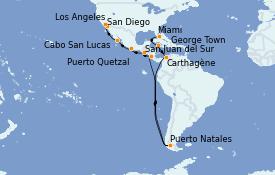 Itinéraire de la croisière Riviera Mexicaine 17 jours à bord du MS Insignia