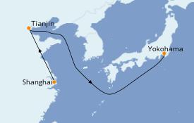 Itinéraire de la croisière Asie 9 jours à bord du Queen Elizabeth