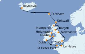 Itinéraire de la croisière Îles Britanniques 15 jours à bord du Seven Seas Navigator