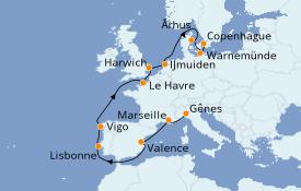 Itinéraire de la croisière Méditerranée 14 jours à bord du Costa Fascinosa